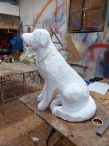 IMG 20190820 200020 225x300 - Perro Labrador. Realizado en poliespan y fibra de vidrio.